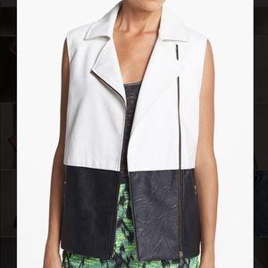 ASTR Black/White Faux Leather Vest (XS)